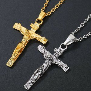 Gold/Silver Tone Crucifix Pendant Necklace New